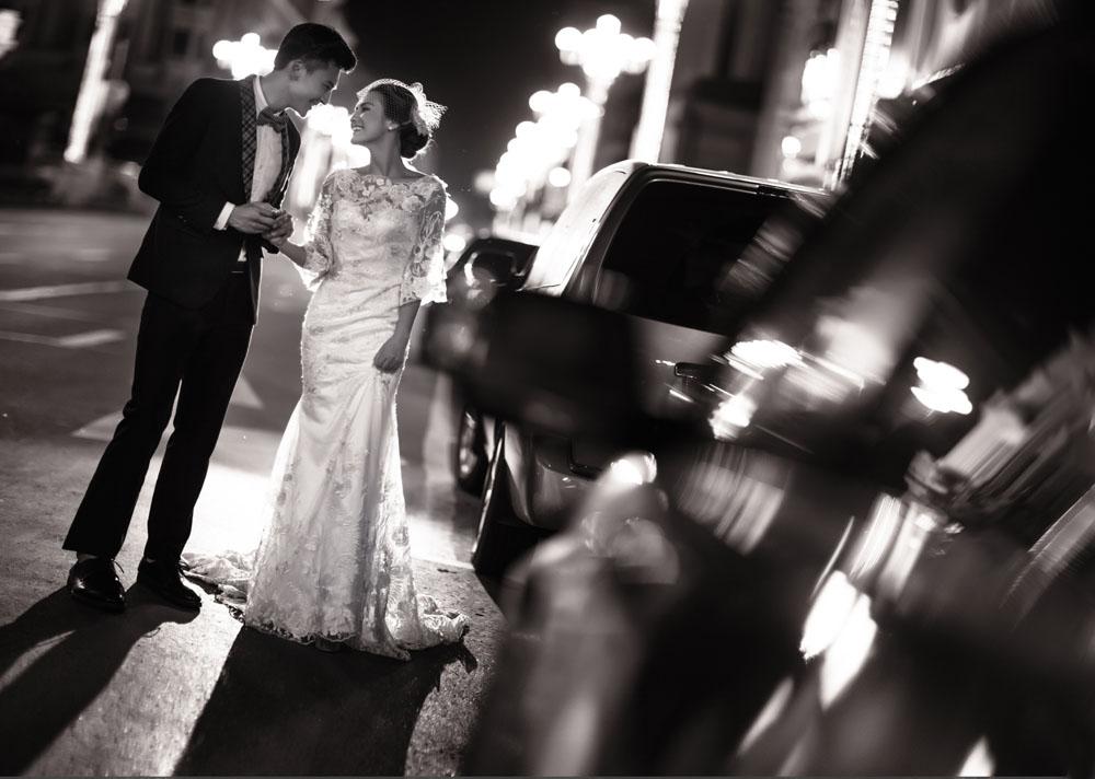 夜景婚纱拍婚|纱照夜景怎么拍好看